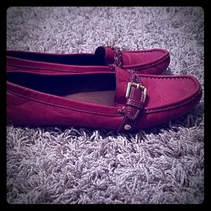 Red Leather Coach flats